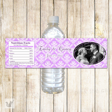 100 Bottle Labels Wedding Bridal Shower Anniversary Lavender
