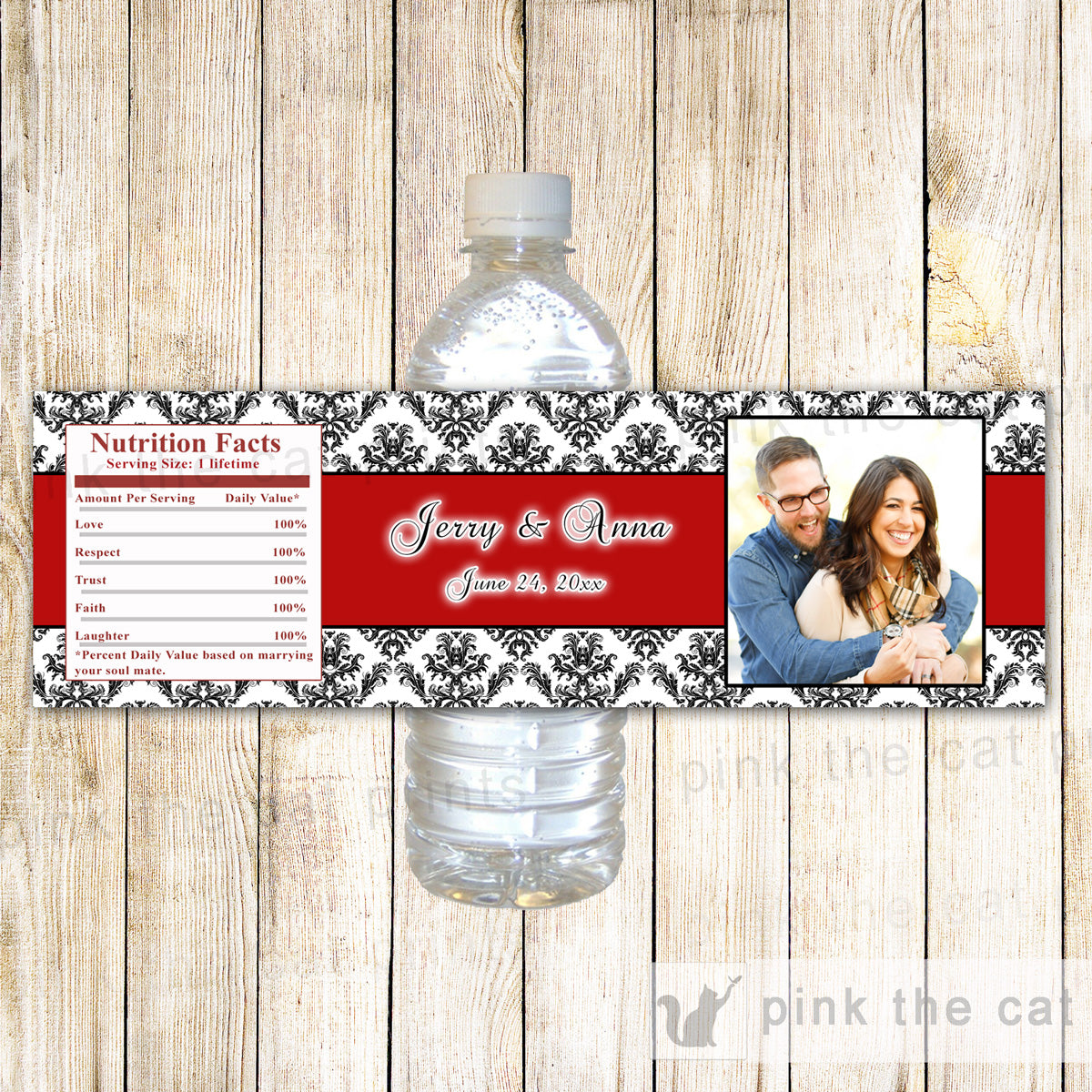 Red Black Bottle Label With Photo Wedding Bridal Shower Printable ...