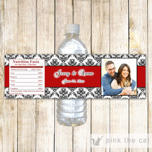 Red Black Bottle Labels Bridal Shower Wedding