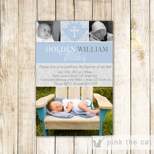 Boy Baptism Christening Dedication Invitation Blue Grey With Photos