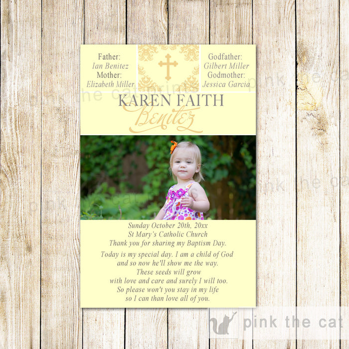 Girl Baptism Christening Thank You Note Photo Card Yellow