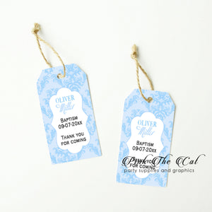 Blue damask thank you tags (set of 48)