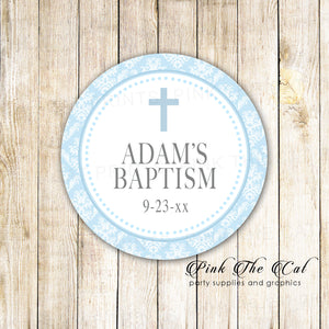40 stickers 2'' boy baptism blue silver personalized christening favors