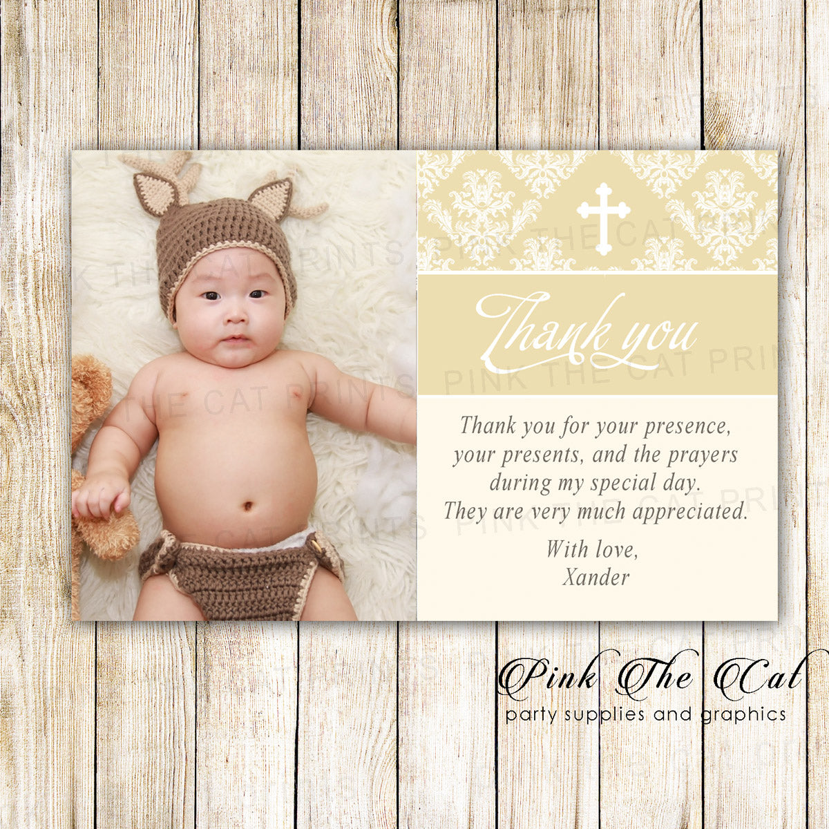 Creme Gold Baptism Christening Thank You Note Printable Pink The Cat