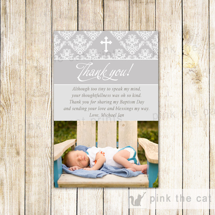 Grey Baptism Christening Holy Communion Thank You Photo Card Note