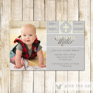 Boy Baptism Invitation Silver Gold Christening Photo Card