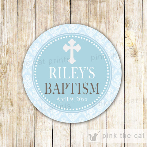 40 Stickers Boy Baptism Gift Favor Label Communion Blue