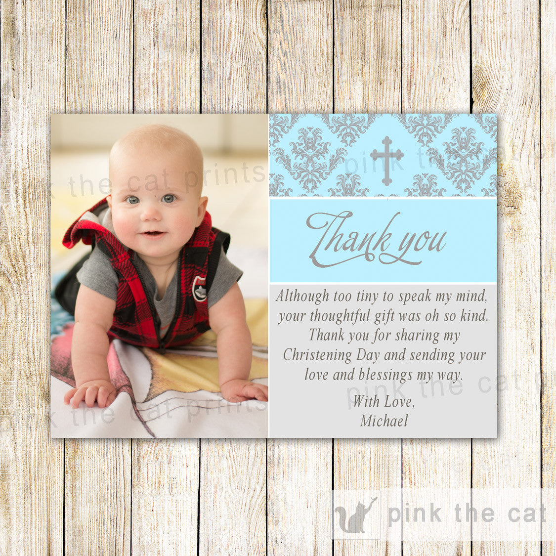 Boy Baptism Christening Thank You Note Photo Card Communion