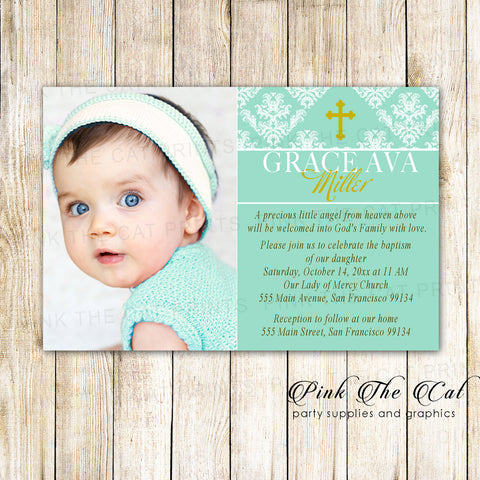 30 Baptism Christening Photo Invitations Gold Mint Green