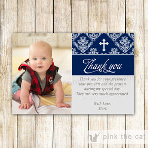 Boy Baptism Dedication Thank You Photo Card Navy Blue