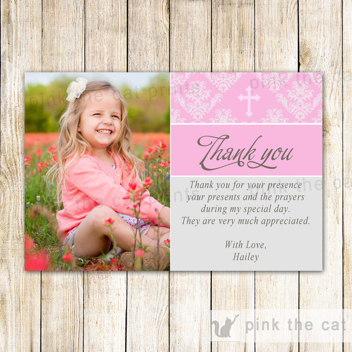 Girl Baptism Christening Holy Communion Thank You Note Photo Card Pink