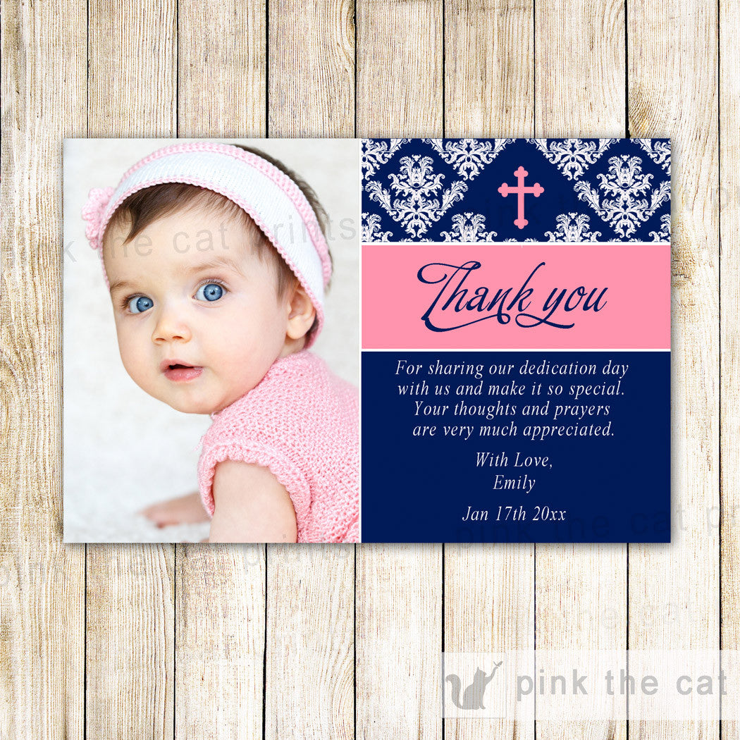 Girl Baptism Christening Thank You Note Photo Card Navy Blue Pink