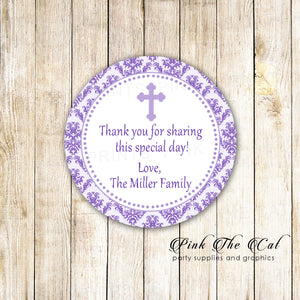 40 stickers purple white girl christening baptism favor label