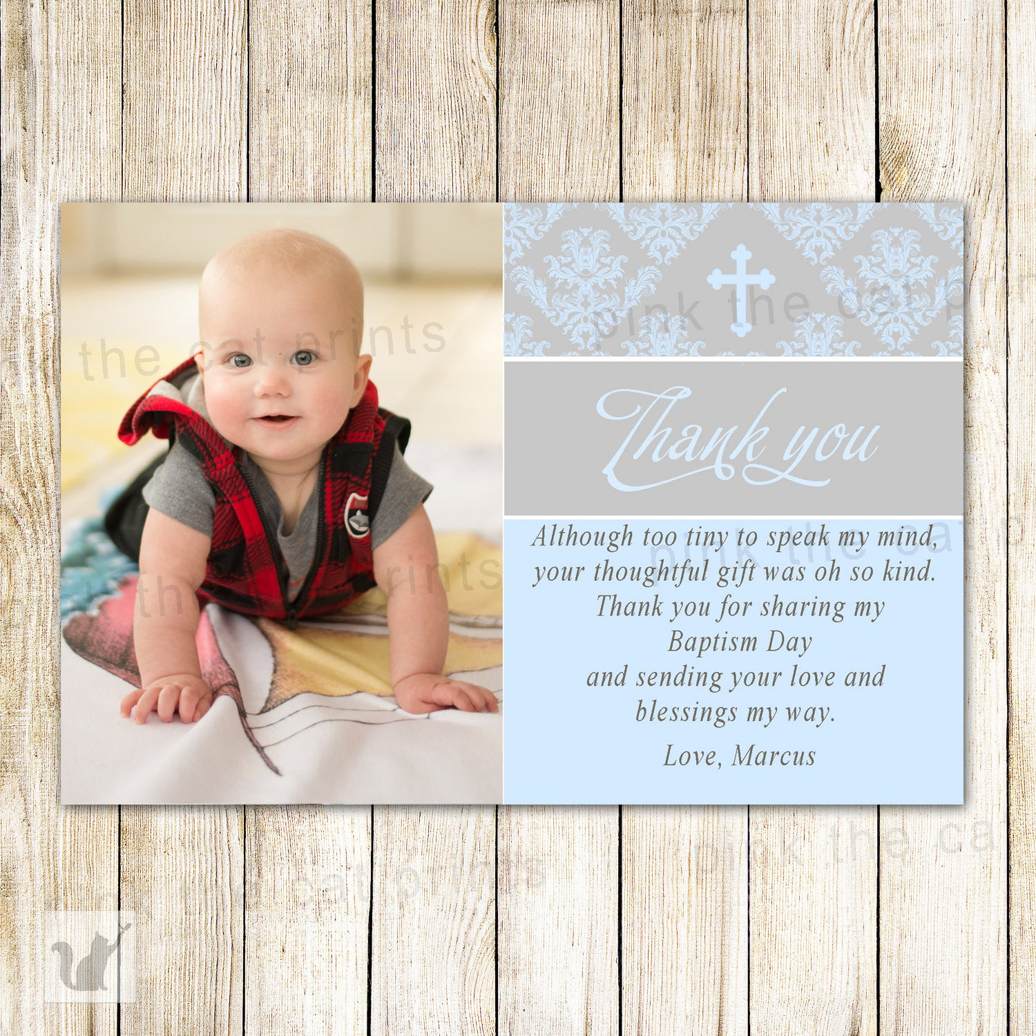 Christening Baby Blessing Dedication Printable Baptism Thank You Card First Communion Nautical DIY Printable Thank you