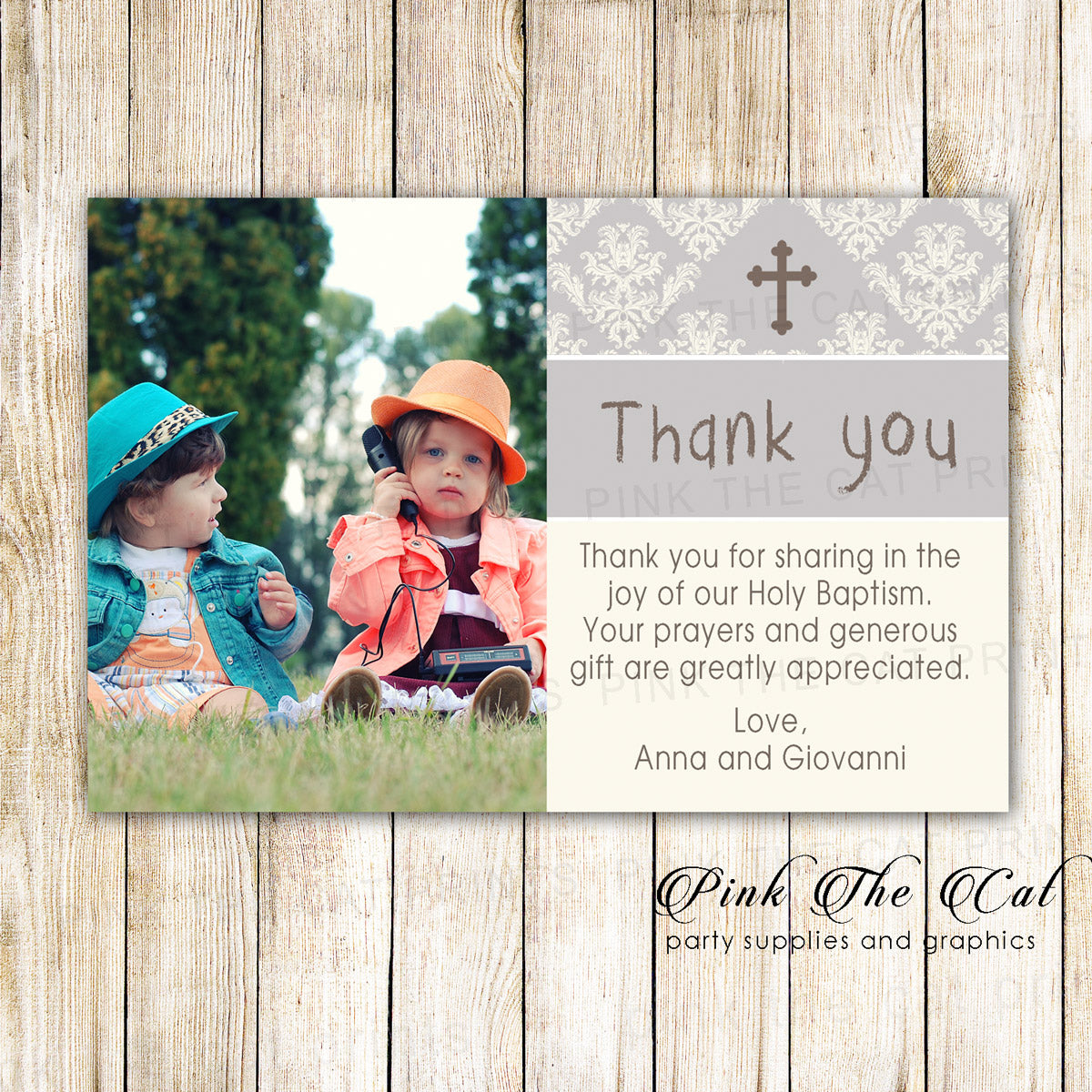 30 Thank You Cards Ivory Silver Twins Baptism Christening Pink The Cat