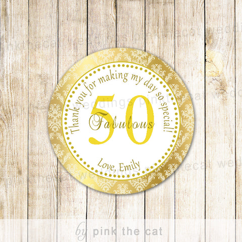 50th Birthday Sticker Gift Favor Tag Label Gold Wedding Anniversary