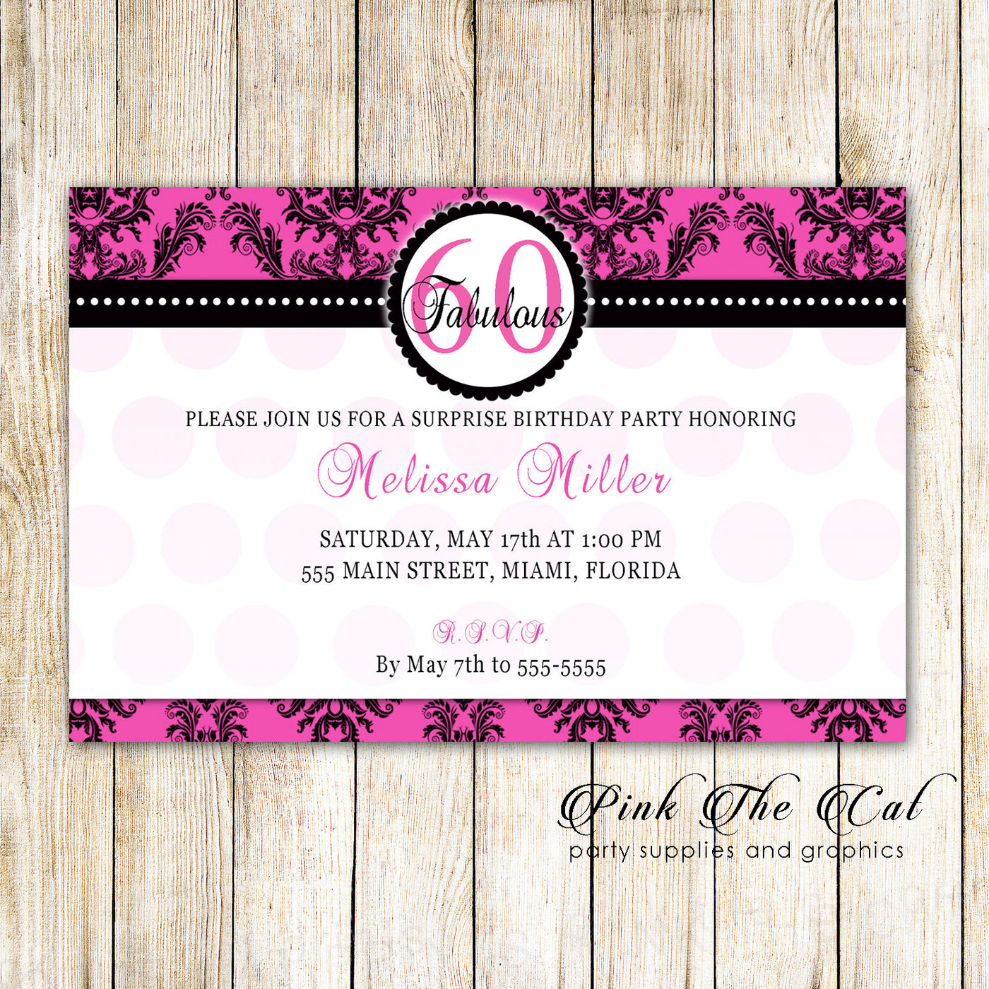 Damask Invitation Hot Pink Black Damask Adult 60th Birthday