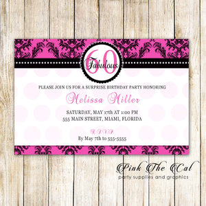 Damask Invitation Hot Pink Black Damask Adult 60th Birthday Printable