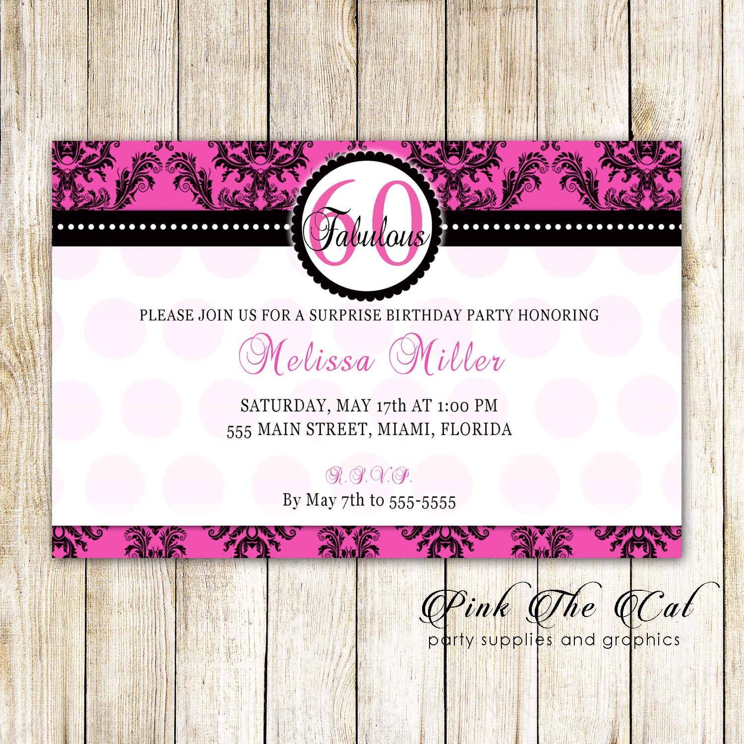 30 Invitations Hot Pink Black Adult Birthday Party Any Age Cards ...