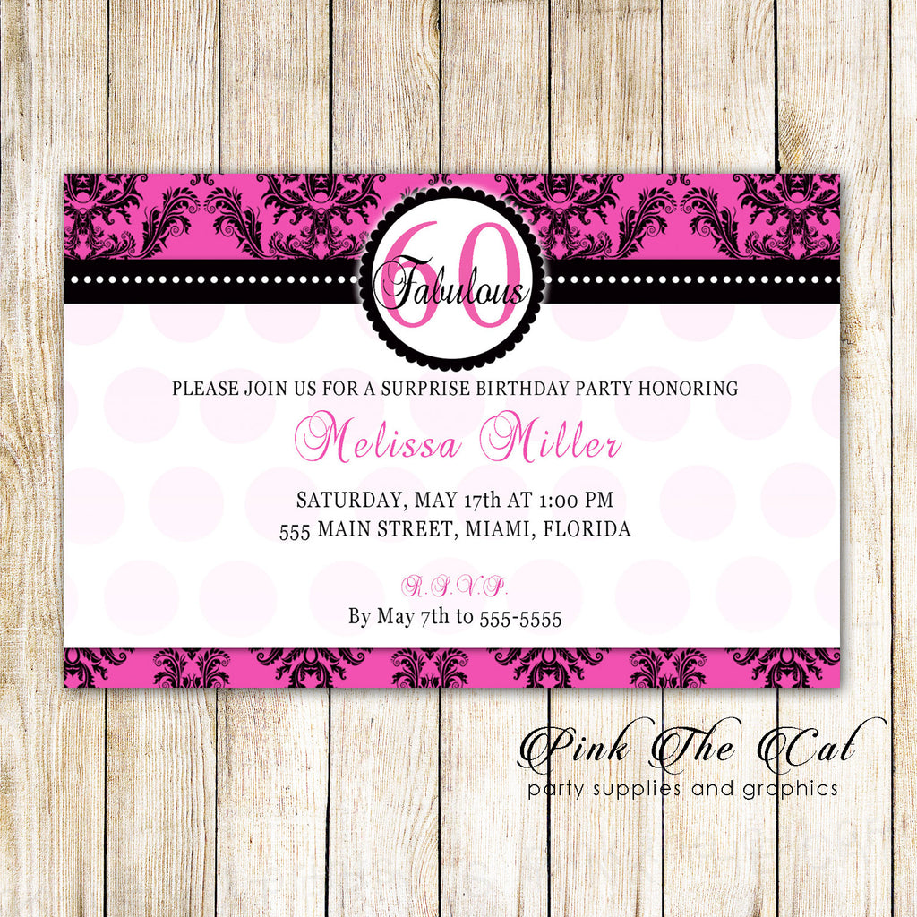 30 Invitations Hot Pink Black Adult Birthday Party Any Age