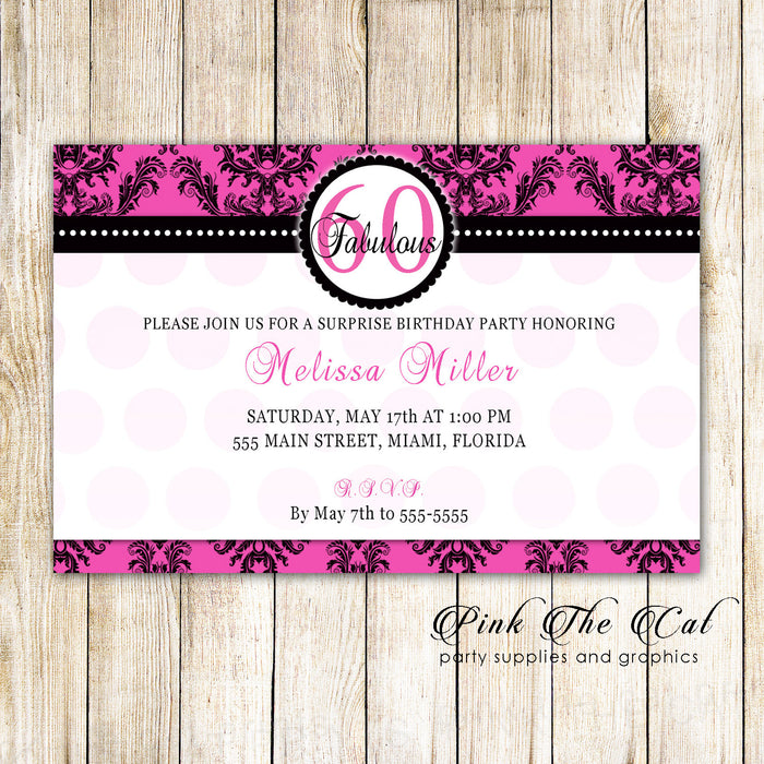Damask Invitation Hot Pink Black Damask Adult Birthday