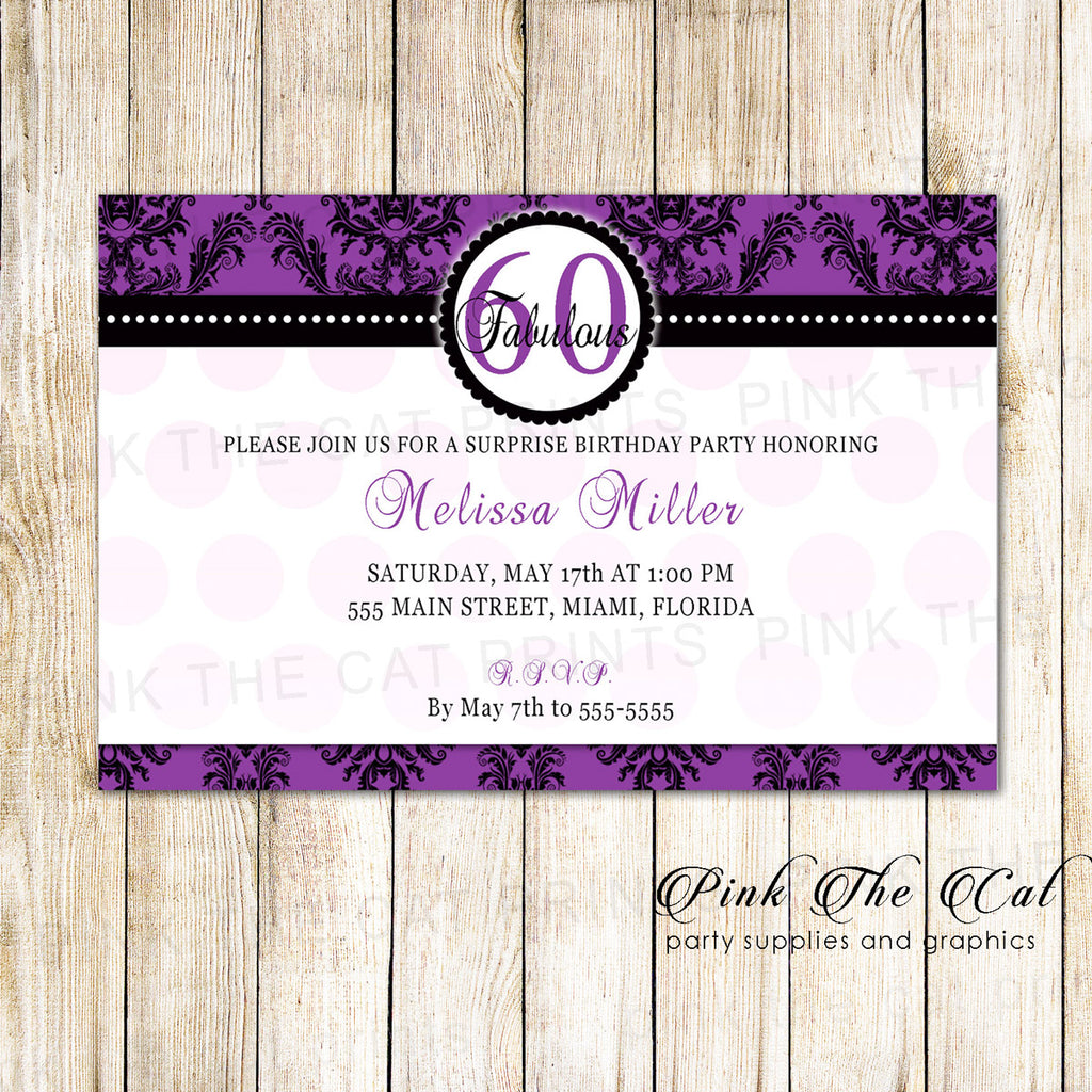Adult Birthday Invitation Gold Silver Damask Pink The Cat – Damask Birthday Invitations