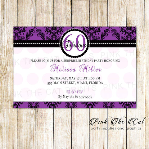 Adult Birthday Invitation Purple Damask