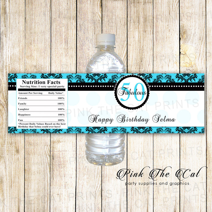 Turquoise Black Adult Birthday Party Bottle Label