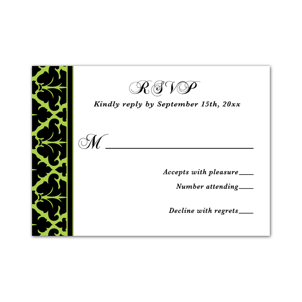 100 RSVP response cards lime green black damask