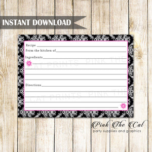 Black Pink Damask Recipe Card Printable Instant Download