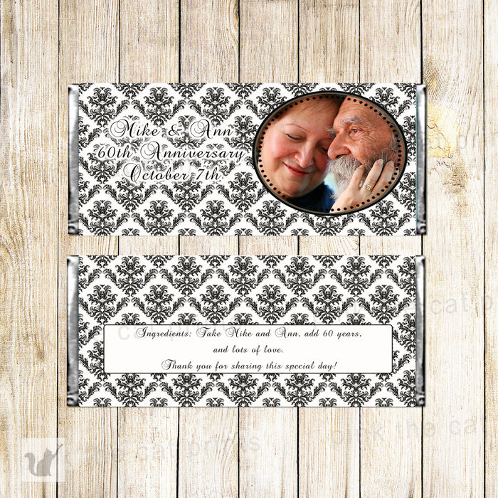 Black White Damask Wedding Anniversary Candy Label Wrapper
