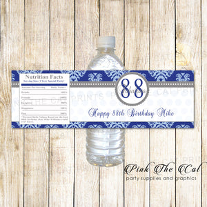 Blue Silver Adult Birthday Water Bottle Label printable