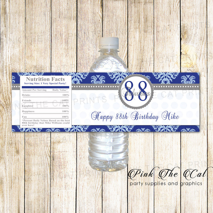 Blue Silver Adult Birthday Water Bottle Label