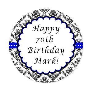 70 stickers 1.5'' royal blue black personalized adult birthday