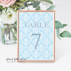 Table number cards baby blue white damask 1 to 7 included