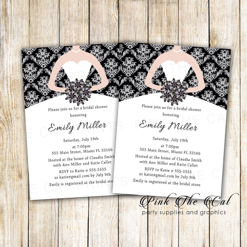 Bridal Shower Invitation Black White Bride Dress Printable
