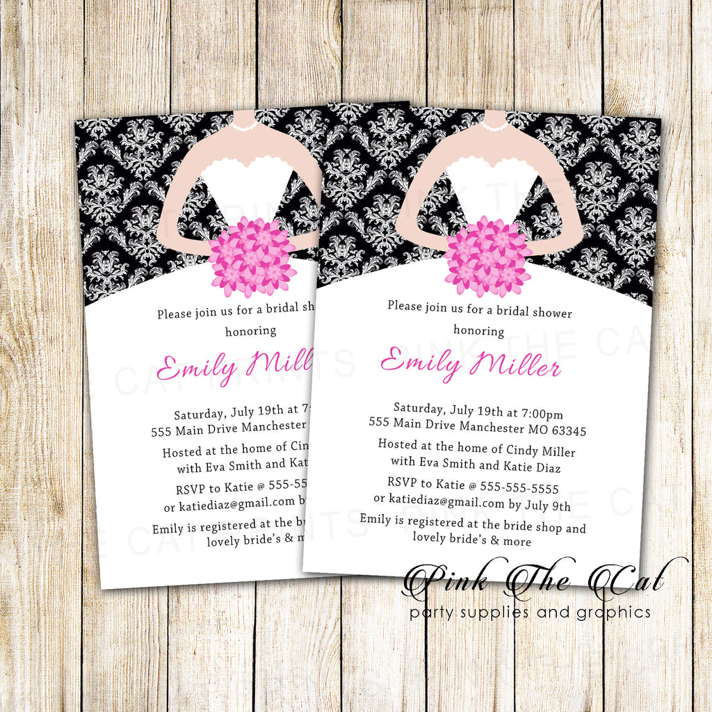 Black Pink Bridal Shower Invitation Damask Printable Personalized