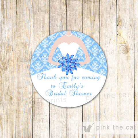 40 Stickers Favor Label Bridal Shower Blue White