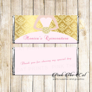 30 Candy Bar Wrappers Quinceanera Bridal Shower Gold Pink