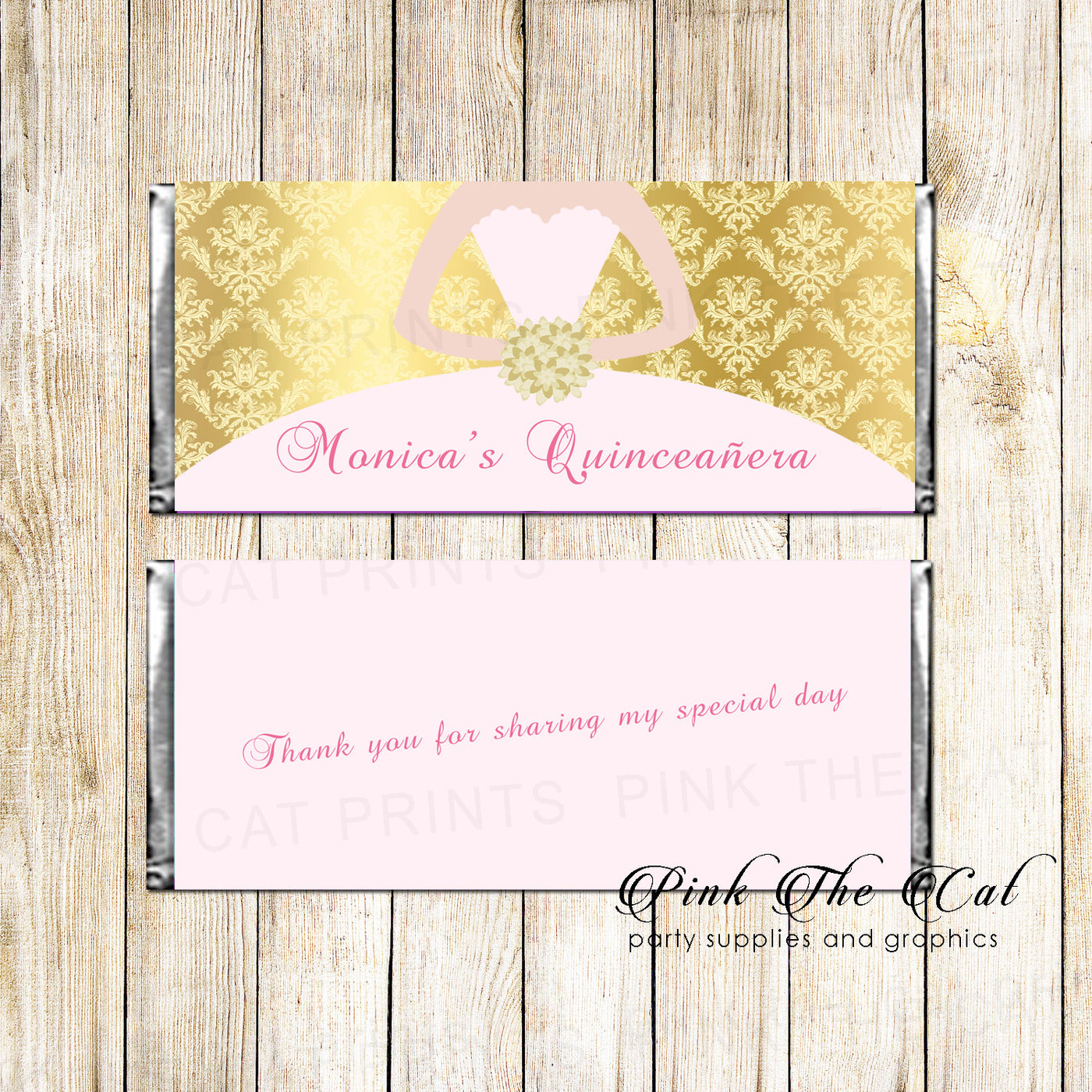 graphic regarding Printable Candy Labels known as Sweet Bar Wrappers Quinceanera Bridal Shower Gold Purple Printable