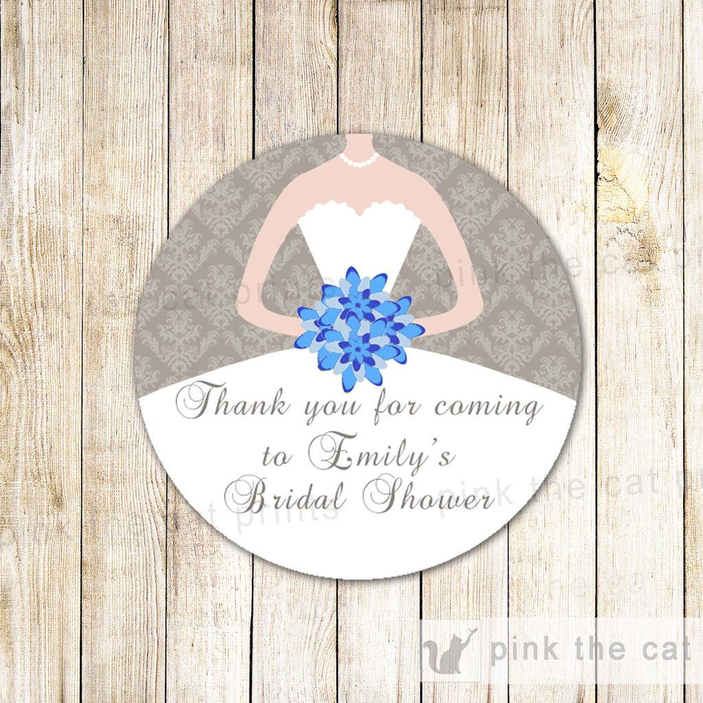 40 Stickers Favor Label Bridal Shower Blue Silver