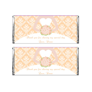 30 Candy Bar Wrappers Quinceanera Bridal Shower Peach Pink