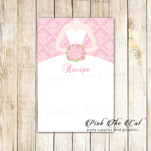 30 recipe cards pink dress damask bridal wedding shower