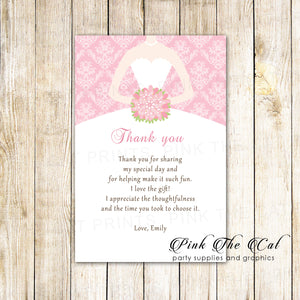 30 thank you cards pink white damask bridal shower
