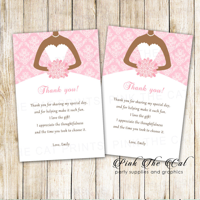 30 thank you cards pink white damask bridal shower african american