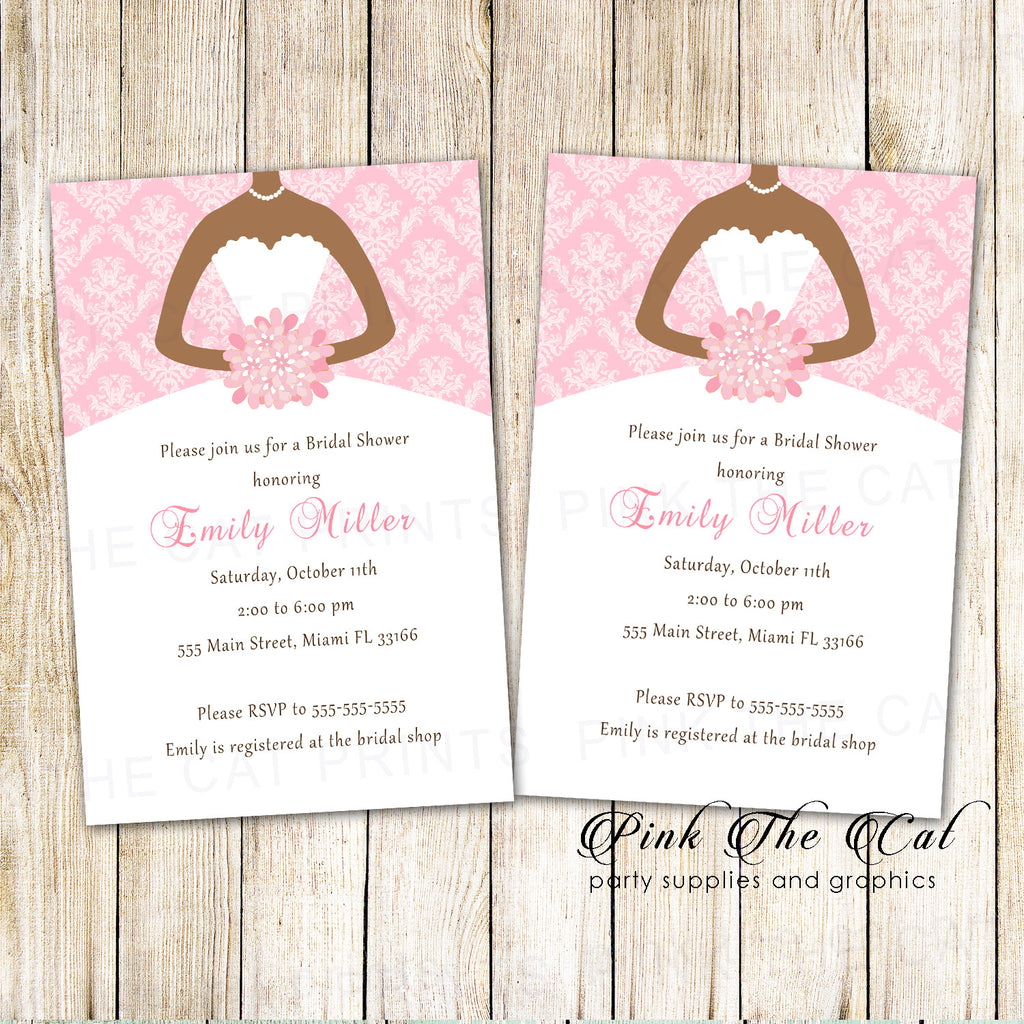 30 invitations bridal shower quinceanera pink african american