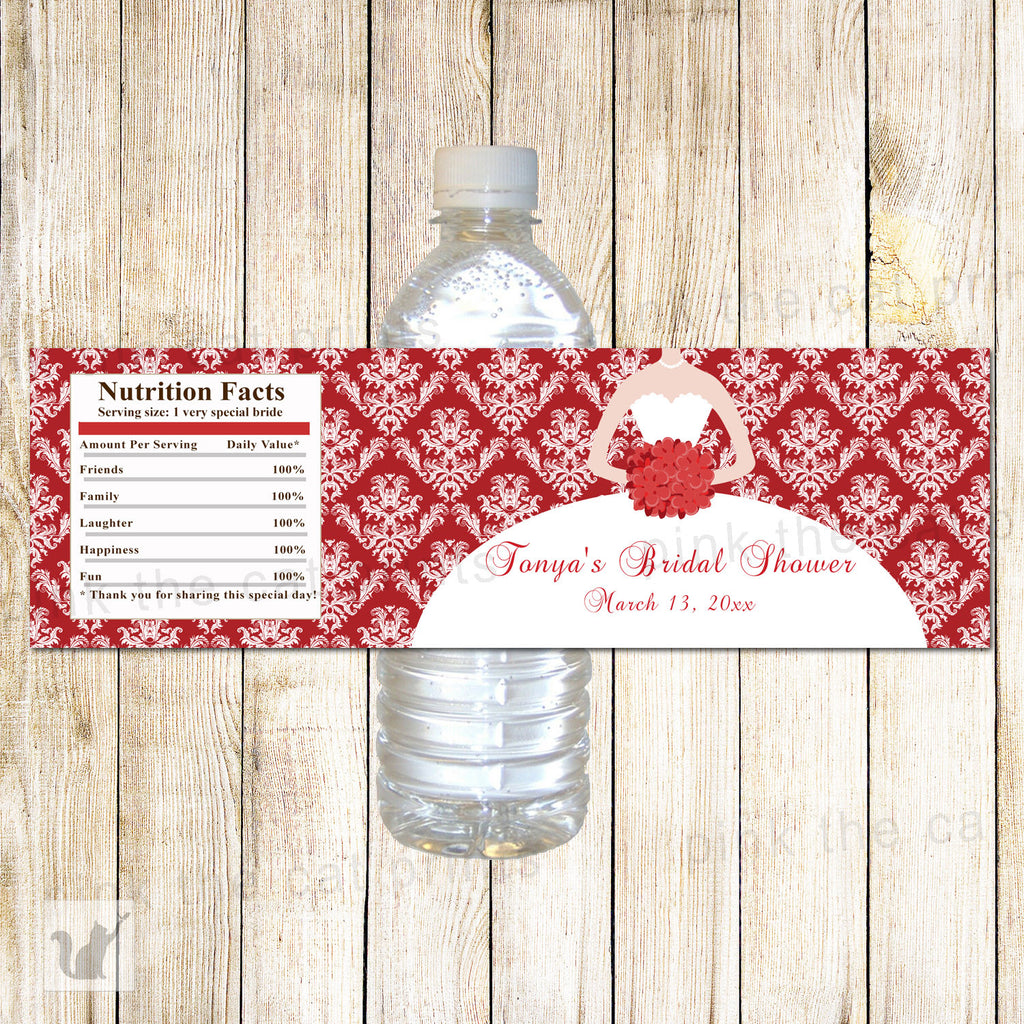100 Bottle Labels Red Wedding Bridal Shower Wrappers