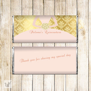 Printable candy bar quinceañera bush pink gold personalized dress