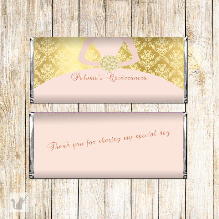 Printable candy bar quinceañera pink gold