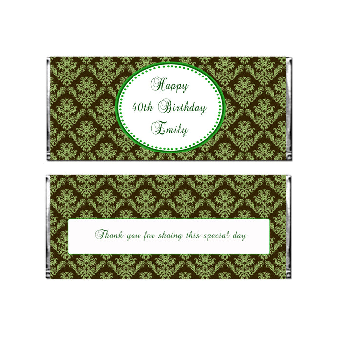 30 Candy Bar Wrappers Adult Birthday Green Brown
